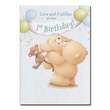 1st Birthday Love and Cuddles Blue Forever Friends Card