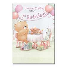 1st Birthday Love and Cuddles Pink Forever Friends Card