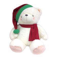 "32"" White Bear with Scarf and Hat"