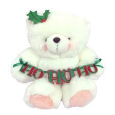 "10"" Ho Ho Ho Banner White Forever Friends Bear"