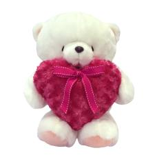 "16"" Red Fluffy Heart White Forever Friends Bear"