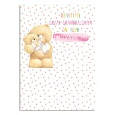 Great Granddaughter Christening Forever Friends Card