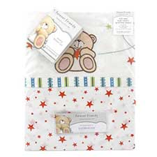 Forever Friends Little Star Cot Bed Flat Sheet & Fitted Sheet