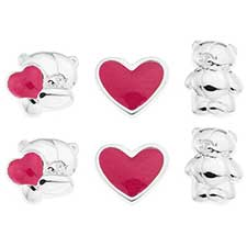 Forever Friend Silver Plated Stud Earrings Set of 3