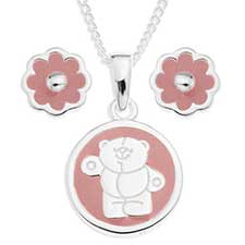 Forever Friends Silver Plated Pendant and Earring set