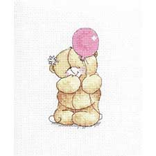 Pink Balloon Forever Friends Cross Stitch Kit