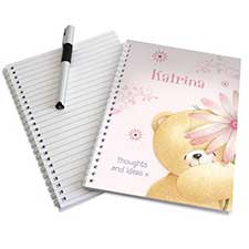 Personalised Forever Friends Big Flower A5 Notebook