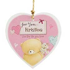 Personalised Forever Friends Pink Craft Wooden Heart