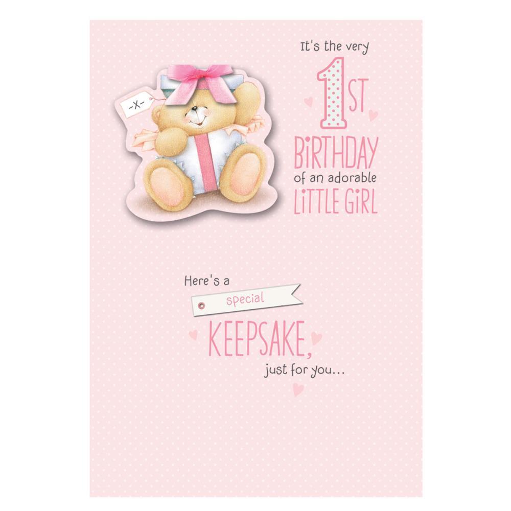1st Birthday Little Girl Forever Friends Keepsake Card
