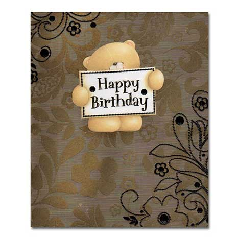 Holding Happy Birthday Forever Friends Card