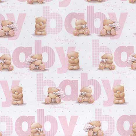 Baby Pink Forever Friends Gift Wrap