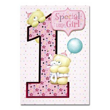 1st Birthday Girl Forever Friends Card