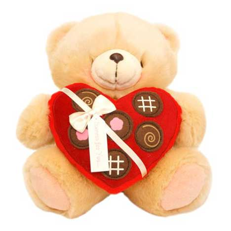 "10"" Heart Chocolate Box Forever Friends Bear"