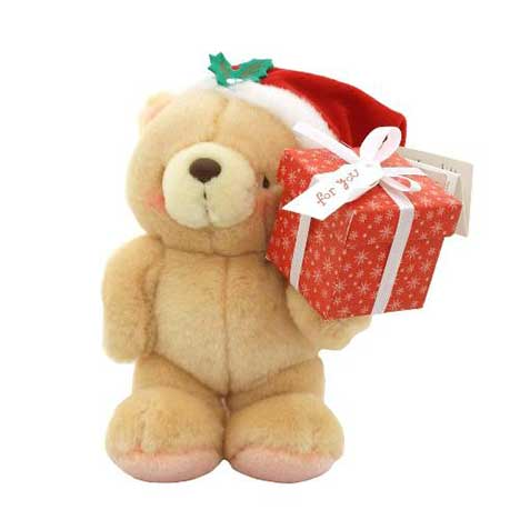 "7"" Standing Santa With Present Forever Friends Bear"