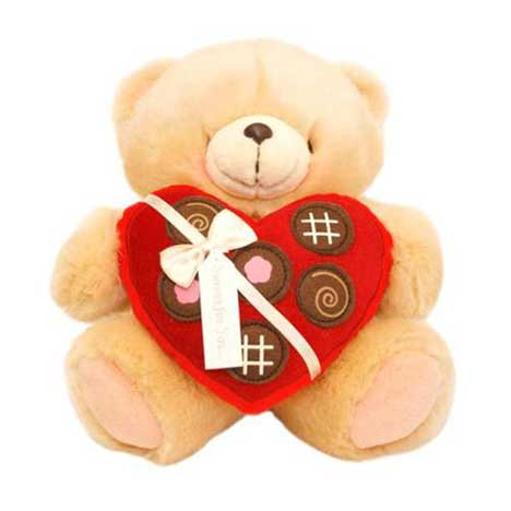 "6"" Heart Chocolate Box Forever Friends Bear"