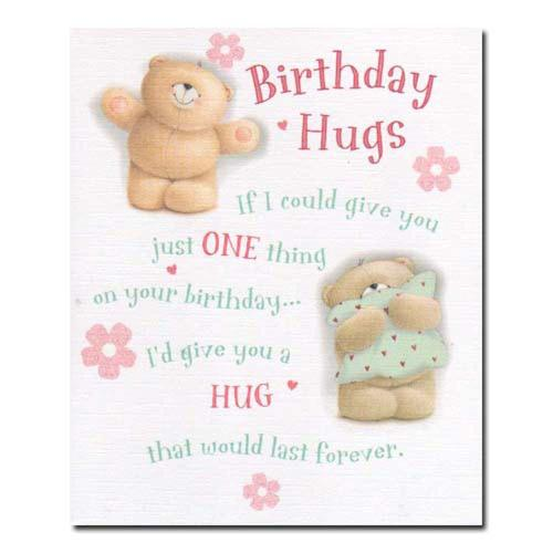 Birthday Hugs Forever Friends Card