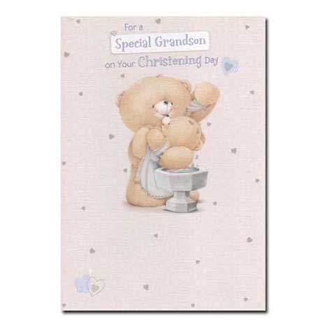 Special Grandson on Christening Day Forever Friends Card