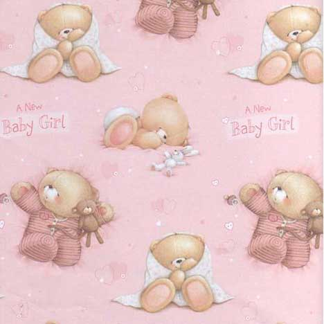 New Baby Girl Forever Friends Gift Wrap