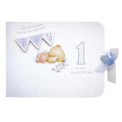 Boys First Birthday Forever Friends Memory Book Card