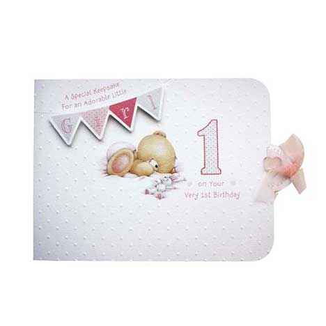 Girls First Birthday Forever Friends Memory Book Card