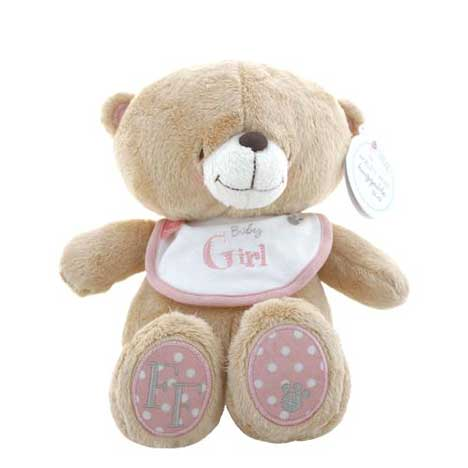 "12"" Baby Girl Pink Bib Forever Friends Bear"