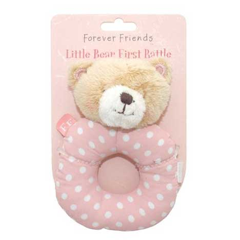 Pink Forever Friends Little Bear Baby Girl Rattle