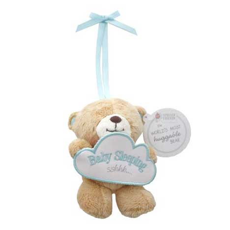 "5"" Forever Friends Bear Holding Blue Baby Sleeping Sign"