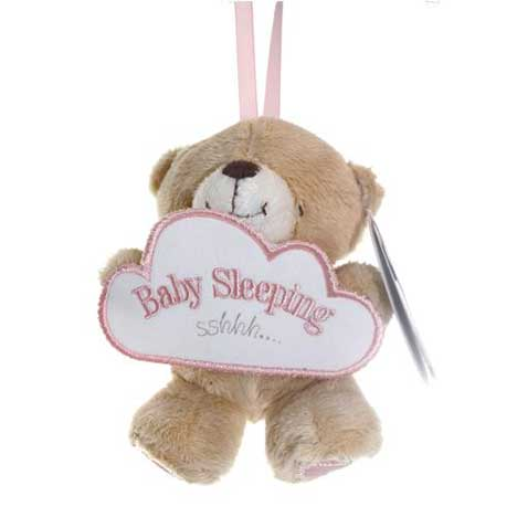 "5"" Forever Friends Bear Holding Pink Baby Sleeping Sign"