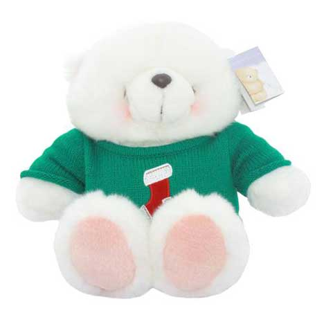 "10"" Forever Friends Bear Wearing Christmas Stocking Jumper"