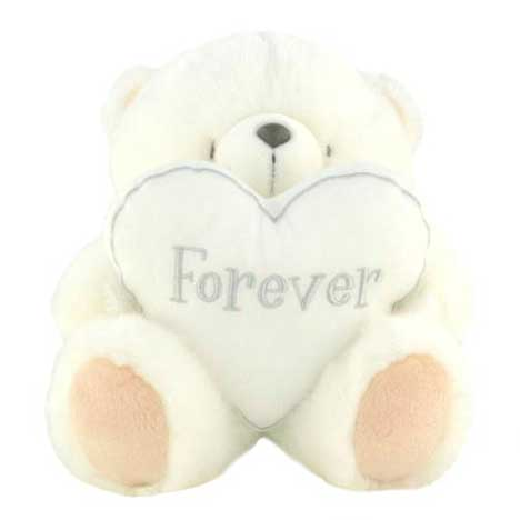 "10"" White Forever Friends Bear with Forever Heart"
