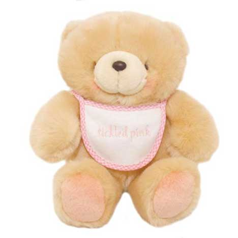 "8"" Tickled Pink Bib Forever Friends Bear"