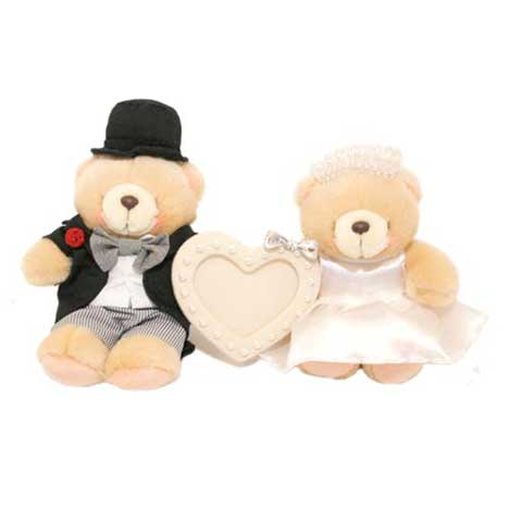 "2 x 6"" Wedding Couple with Heart Frame Forever Friends Bears"