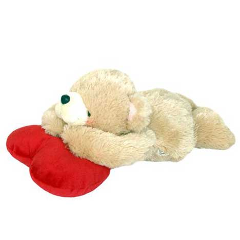 "10"" Forever Friends Bear Lying on a Heart"