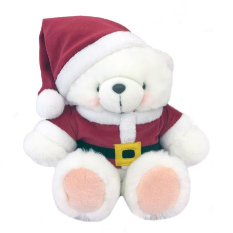 "10"" White Forever Friends Santa Bear"