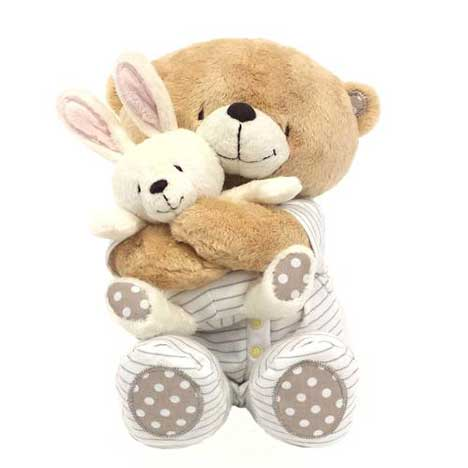 "10"" Forever Friends Baby Safe Bear Hugging 6"" Removable Bunny"