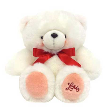 "10"" White Love Forever Friends Bear with Red Ribbon"