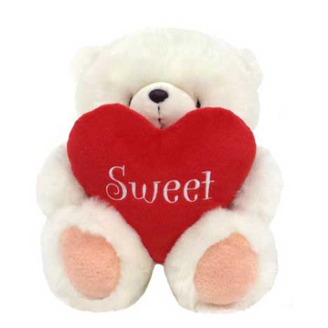 "10"" White Sweet Padded Love Heart Forever Friends Bear"