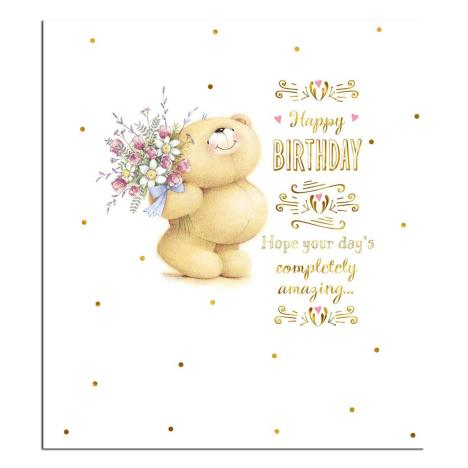 Bear With Flowers Forever Friends Birthday Card