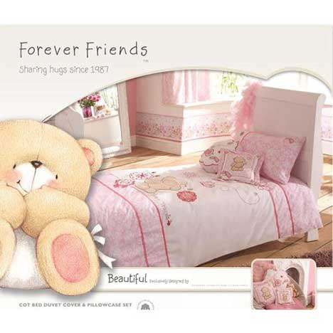 Forever Friends Beautiful Cot Bed Duvet Cover & Pillow Case