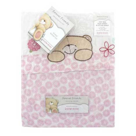 Forever Friends Beautiful Cot Bed Flat Sheet & Fitted Sheet