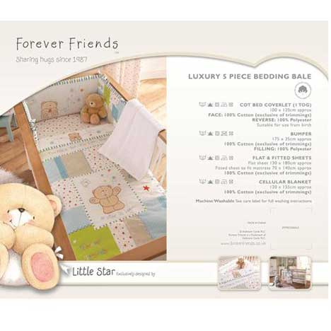 Forever Friends Little Star Luxury 5 pc Cot Bed Bedding Bale