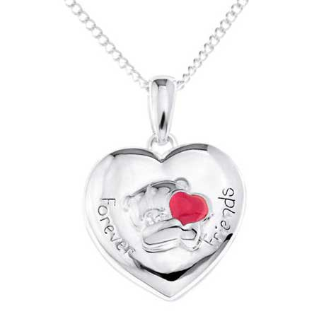 Forever Friends Silver Plated Heart locket