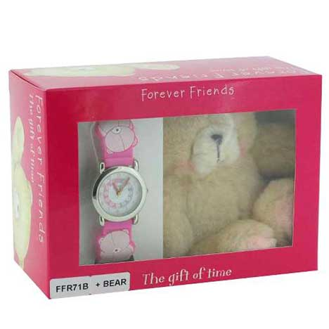 "Forever Friends Pink Watch & 4"" Bear Gift Set"