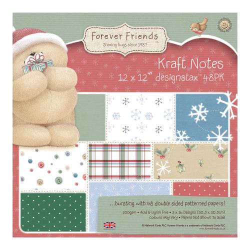 "12 x 12"" Designstax Forever Friends Christmas Kraft Notes (48pk)"