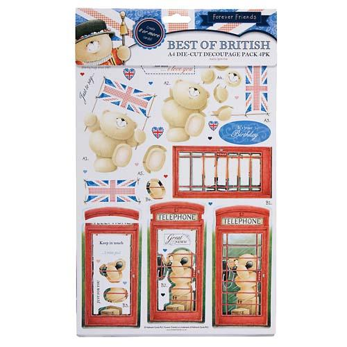 A4 Bunting Best of British Die Cut Decoupage Pack 4 PK