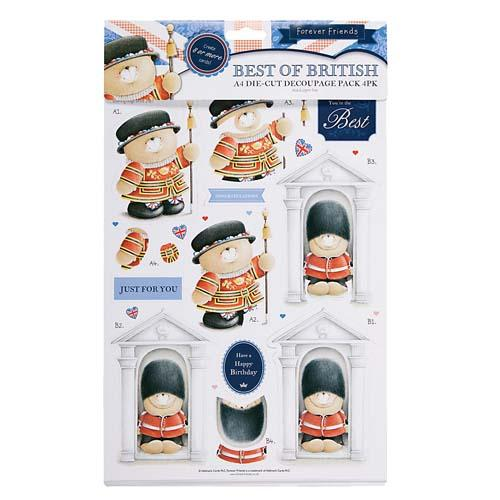 A4 London Best of British Die Cut Decoupage Pack 4 PK
