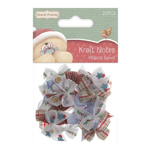 Forever Friends Ribbon Bows Christmas Kraft Notes (20pcs)