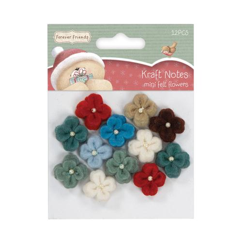 Christmas Kraft Notes Forever Friends Mini Felt Flowers (12pcs)