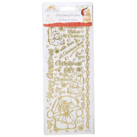 Winter Blossom White Glitter Outline Stickers (Gold Accent