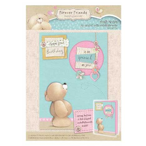 A5 Kraft Notes Forever Friends Card Kit with Embellishments